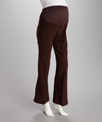 Brown Over-Belly Maternity Bootcut Pants - Women