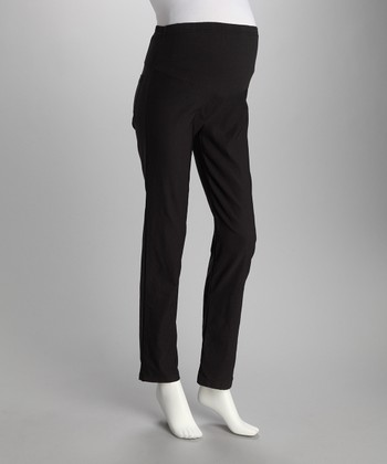 Black Mock Pocket Over-Belly Maternity Pants