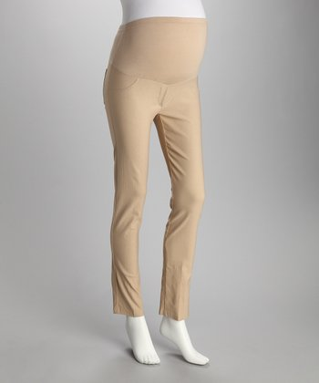 QT Khaki Mock Pocket Over-Belly Maternity Pants
