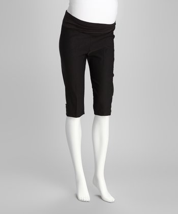 Black Mid-Belly Maternity Capri Pants - Women