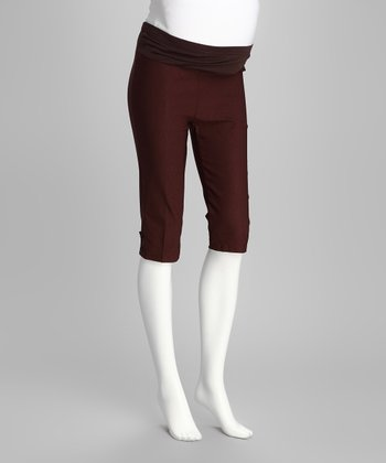 Brown Mid-Belly Maternity Capri Pants