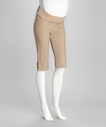 Beige Mid-Belly Maternity Capri Pants - Women