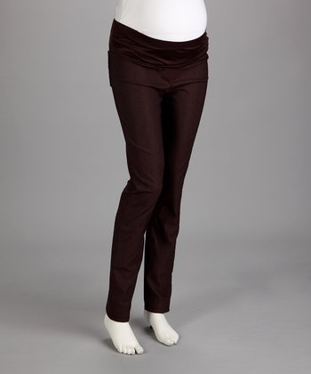 QT Brown Under-Belly Maternity Straight-Leg Pants - Women