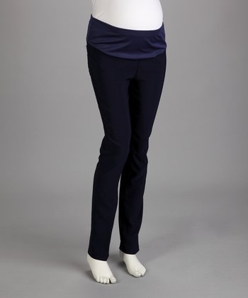 Navy Under-Belly Maternity Straight-Leg Pants