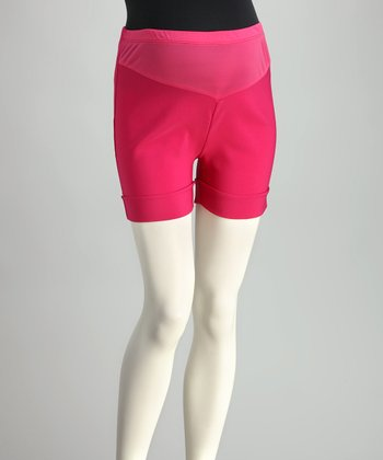 Fuchsia Mid-Belly Roll-Up Maternity Shorts