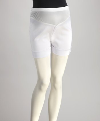 White Mid-Belly Maternity Shorts - Women