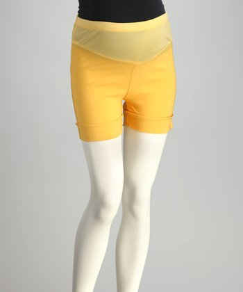 Yellow Mid-Belly Maternity Shorts