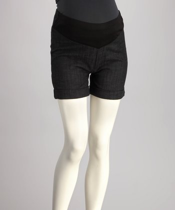 QT Black Mid-Belly Maternity Shorts