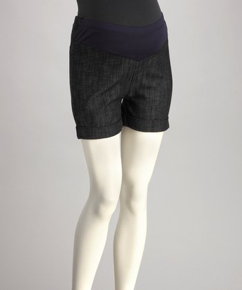 QT Navy Mid-Belly Maternity Shorts