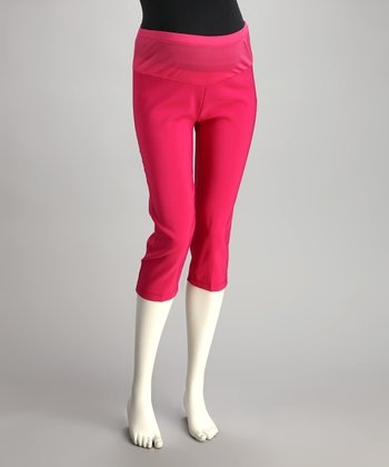 Pink Mid-Belly Maternity Capri Pants