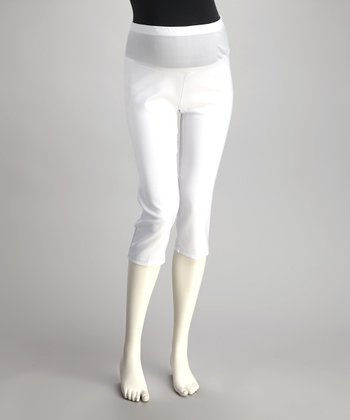 QT Maternity White Mid-Belly Maternity Capri Pants