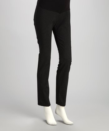 Black Stripe Mid-Belly Maternity Plus-Size Skinny Pants