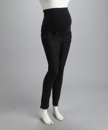Black Over-Belly Maternity Jeans - Women