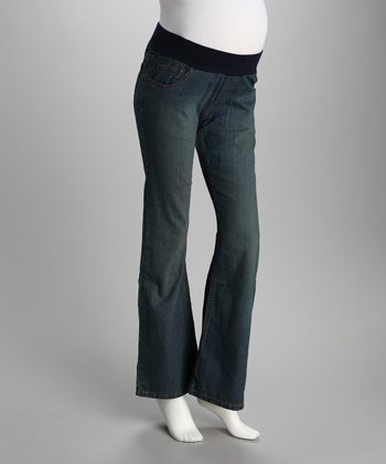 Medium Blue Under-Belly Maternity Bootcut Jeans