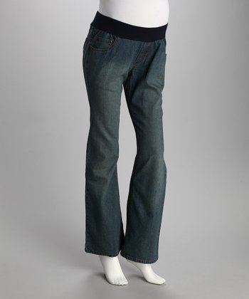 Medium Blue Swirl Pocket Maternity Jeans