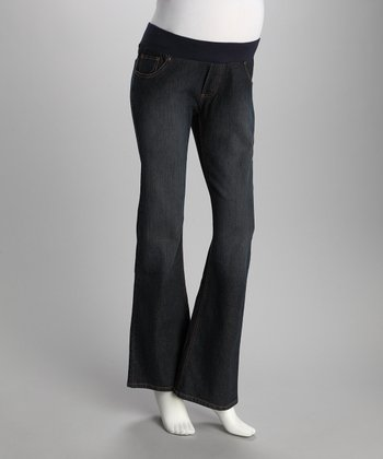Dark Blue Curvy Under-Belly Maternity Bootcut Jeans - Women
