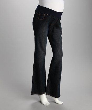 Dark Blue Zigzag Pocket Under-Belly Maternity Jeans