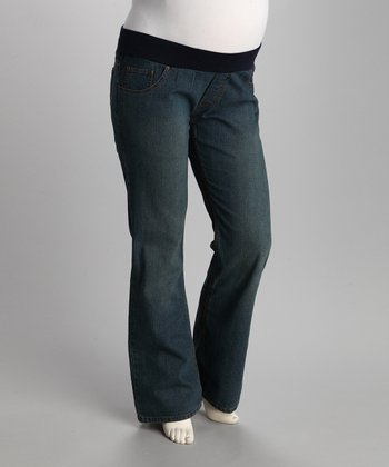 Medium Blue Zigzag Under-Belly Maternity Jeans