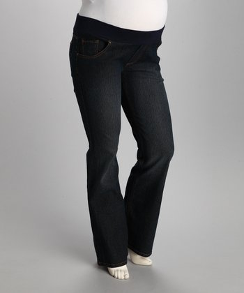 Dark Blue Circle Under-Belly Maternity Jeans