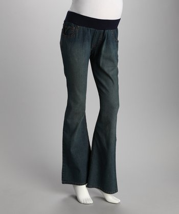 Medium Blue Circle Under-Belly Maternity Jeans