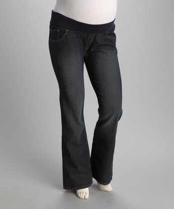Dark Blue Wavy Pocket Under-Belly Maternity Jeans