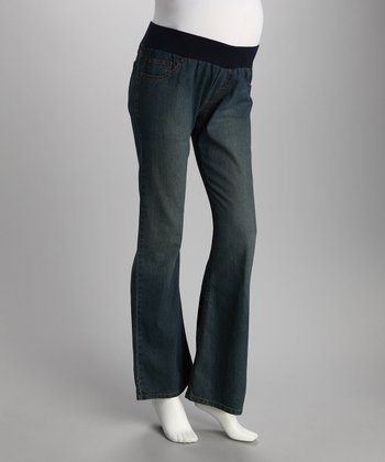 Medium Blue Wavy Pocket Under-Belly Maternity Jeans - Women