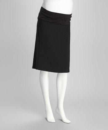 QT Black Mid-Belly Maternity Pencil Skirt - Women