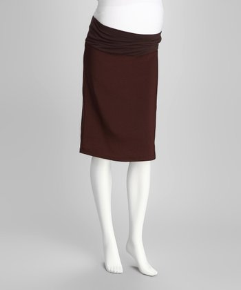QT Brown Mid-Belly Maternity Pencil Skirt - Women