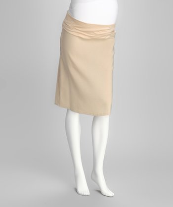 QT Khaki Mid-Belly Maternity Pencil Skirt - Women
