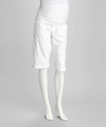 White Side-Pocket Maternity Bermuda Shorts - Women