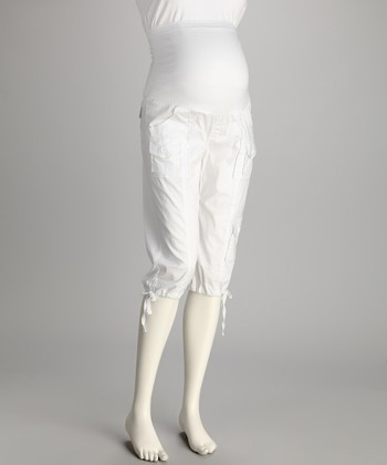 White Over-Belly Maternity Capri Pants