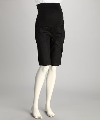 QT Black Over-Belly Maternity Cargo Shorts - Women