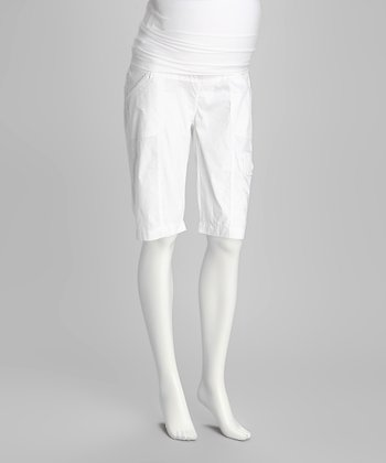 White Over-Belly Maternity Cargo Shorts