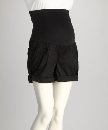 Black Over-Belly Roll-Up Maternity Shorts