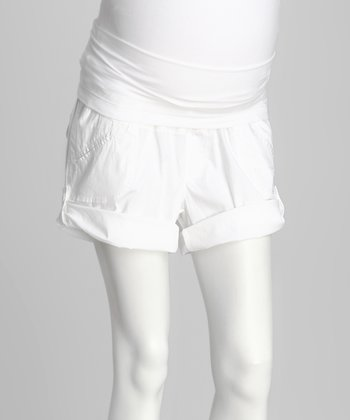 White Over-Belly Maternity Shorts