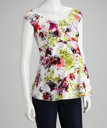 Lime Floral Maternity Sleeveless Top - Women
