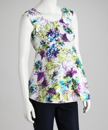 Purple Floral Maternity Sleeveless Top - Women
