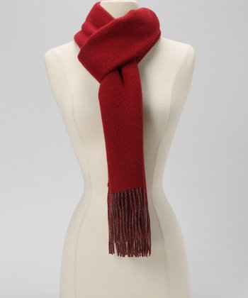 Burgundy & Charcoal Double Face Cashmere Scarf