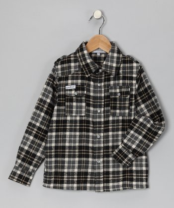 Black Plaid Bootleg Button-Up - Toddler & Boys