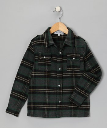 Green Plaid Bootleg Button-Up - Toddler & Boys
