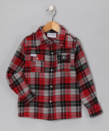 Red Plaid Bootleg Button-Up - Toddler & Boys