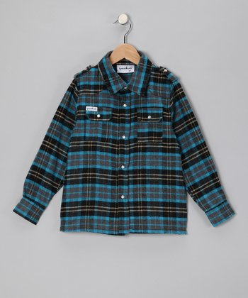 Turquoise Plaid Bootleg Button-Up - Toddler & Boys
