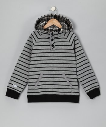 Black & Gray Stripe Hoodie - Toddler & Boys