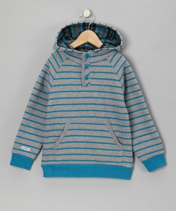 Blue & Gray Stripe Hoodie - Toddler & Boys