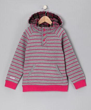 Pink & Gray Stripe Hoodie - Toddler & Boys