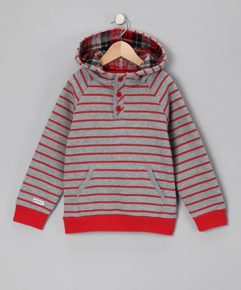 Red & Gray Stripe Hoodie - Toddler & Boys