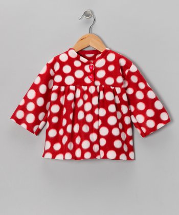 Red & White Polka Dot Fleece Jacket - Infant, Toddler & Girls