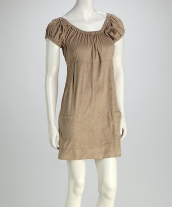 RD International Tan Babydoll Dress