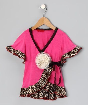 Pink Leopard Wrap Top - Toddler & Girls