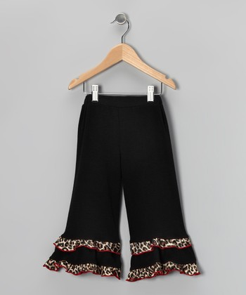 Black Cheetah Ruffle Pants - Toddler & Girls